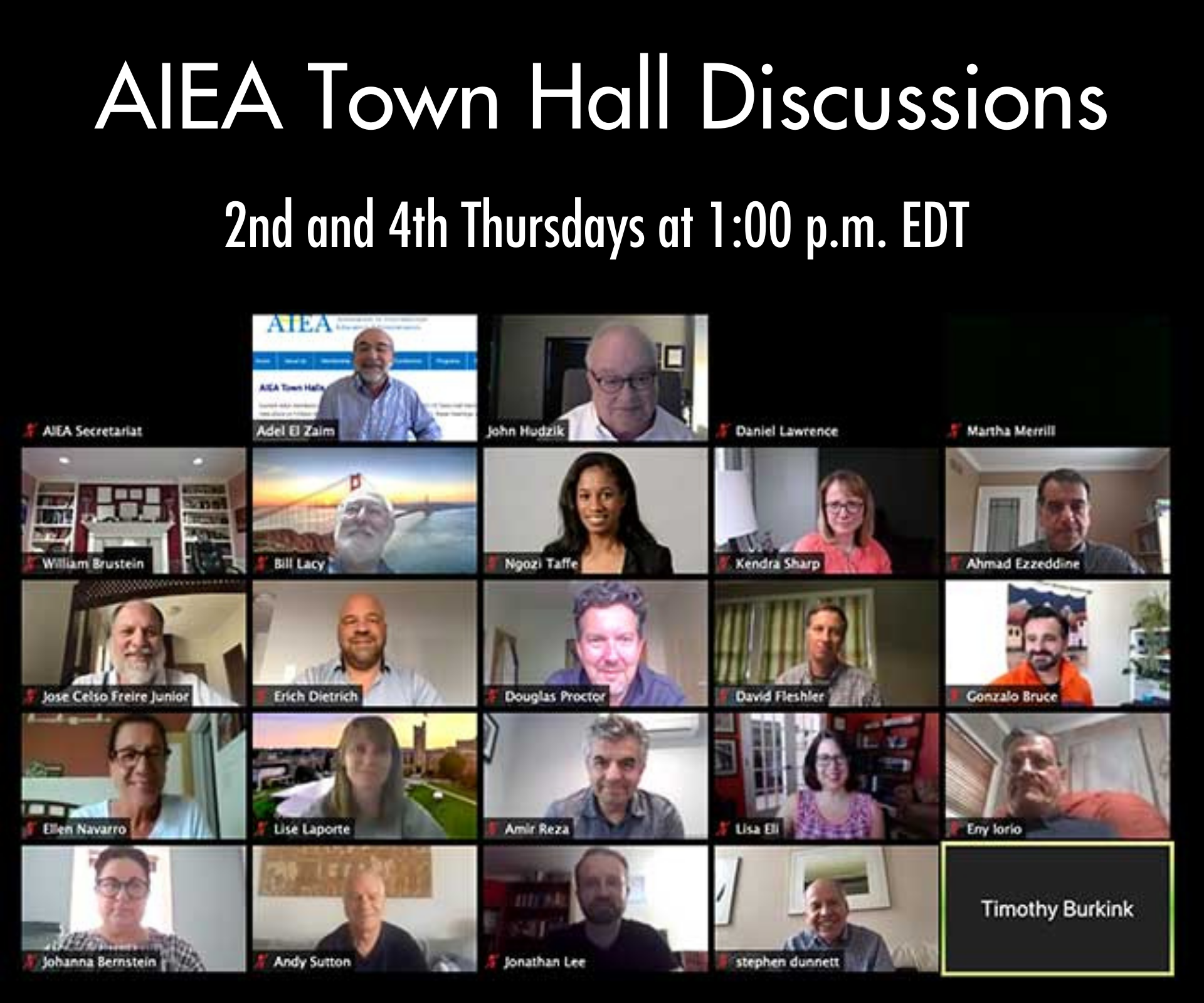 AIEA Town Hall Discussions: 2nd and 4th Fridays, 1:00 PM Eastern