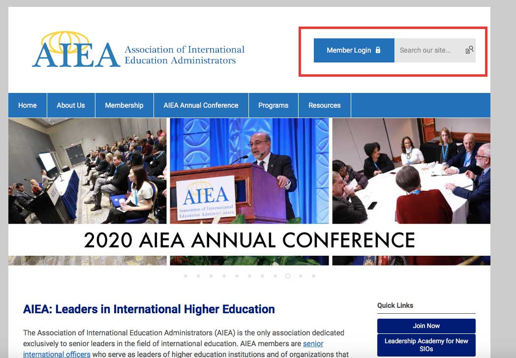 AIEA Frontpage with login area highlighted