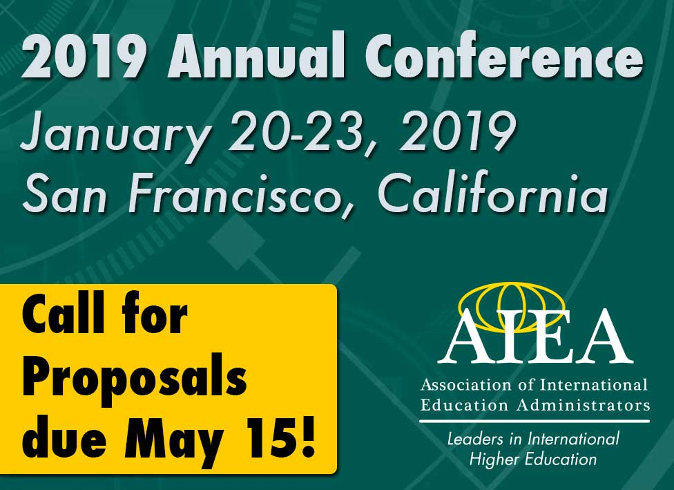 2019 Call for Proposals Due May 15