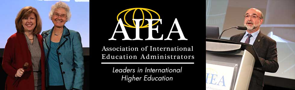Three panels: (L) Cheryl Matherly and Penelope Pynes on stage; (m) AIEA logo and tagline - Association of International Education Administrators, Leaders in International Higher Education; (r) Adel el Zaim speaking at a podium